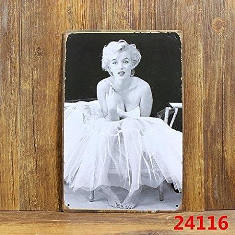 Cartel de chapa Placa metal tin sign retro nostálgico metalicas Marilyn Monroe Baile