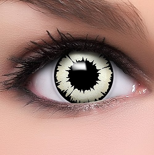 Linsenfinder 'New Vampir' farbige Kontaktlinsen weiß + Gratis Behälter perfekt zu Halloween und Karneval ohne Stärke fun crazy rote