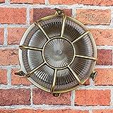 Wandleuchte Außen Antik Echt-Messing Rostfrei E27 Riffelglas Käfigschirm Rund Außenleuchte Feuchtraum Haus - 5