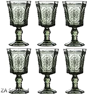 Vintage Style Retro Baroque Wine Goblet Smoked Glass Drink Glasses (set of 6) by Star 5