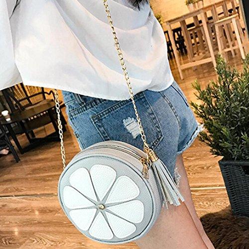 BZLine® Frauen Leder Kette Handtasche Crossbody Schulter Messenger Tasche Grau