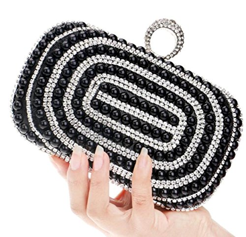 Strawberryer Fashion Pearl Handbags Banquet De Luxe Sac De Soirée Nuptiale Nightclub KTV Decorative Handle Clutch Black