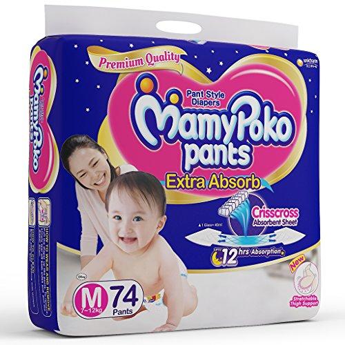 MamyPoko Pants Extra Absorb Diaper, Medium, Pack of 74