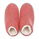 Zapatillas de algodón de invierno fankou hogar hembra couple couple zapatillas espesar cálida lana Zapatos niña algodón simple arrastre zapatillas, señoras: 260 (39-40 metros), rojo