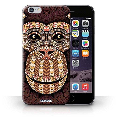 Coque en plastique pour iPhone 6+/Plus 5.5 Collection Motif Animaux Aztec - Loup-Cramoisi Singe-Orange