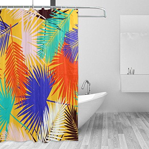 cpyang Colorful Palm Leaf Polyester Stoff Vorhänge Dusche Wasserdicht und Schimmel beständig für Badezimmer Dekoration Mit 12Vorhang Haken 182,9x 182,9cm (Palm-baum-dusche Vorhang Ringe)