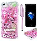 iPhone 7 Cover Bling Glitter Brillanti QuickSand Brillantini - MAXFE.CO Custodia Sottile ANTIURTO Rigida Plastica con i Bordi Silicone TPU Bumper Case Prottetiva per iPhone 7 - Fiore Fenicottero