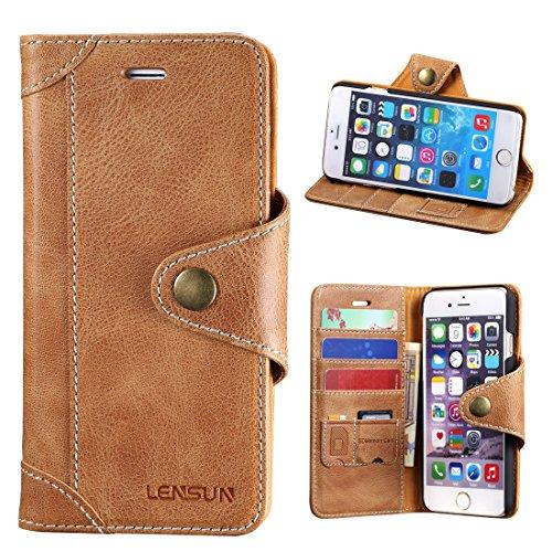 iPhone 6 Hülle iPhone 6s Hülle, Lensun Handyhülle Handytasche iPhone 6 / 6s (4.7 Zoll) Leder Huelle Tasche Flip Case Ledertasche Schutzhülle - Braun (6G-GT-BN)