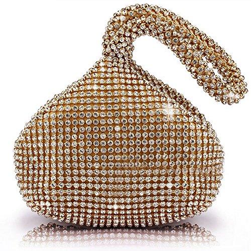 J&G dreieckige Rhinestone Strass Damen Unterarmtasche Abendhandtasche Fete Tasche Hochzeit Handtasche (Golden)