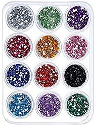 eBoot 12 Couleurs Décorations d'Art d'Ongle Strass avec 12 Pack Petits Pots de Récipient, 6000 Pièces