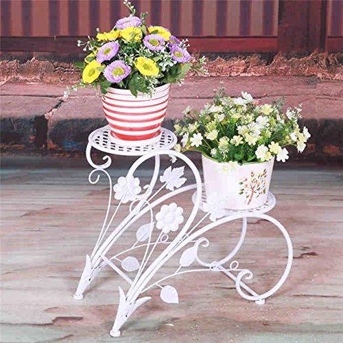 Étagères à fleurs polyvalentes 45 * 20 * 42cm de style européen fer fleur étagères Pastorale double fleur Pot Rack Salon intérieur Balcon usine étagère Pour intérieur et extérieur (Couleur : Blanc)