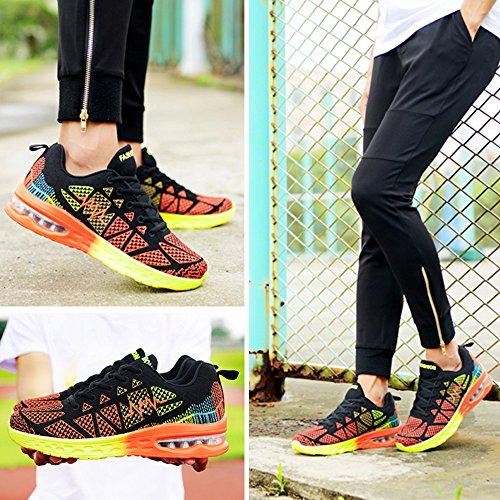 BAINASIQI Damen Laufschuhe Atmungsaktive Mesh Sneakers Turnschuhe Leicht Freizeit Fitness Schuhe Outdoor Wanderschuhe Orange