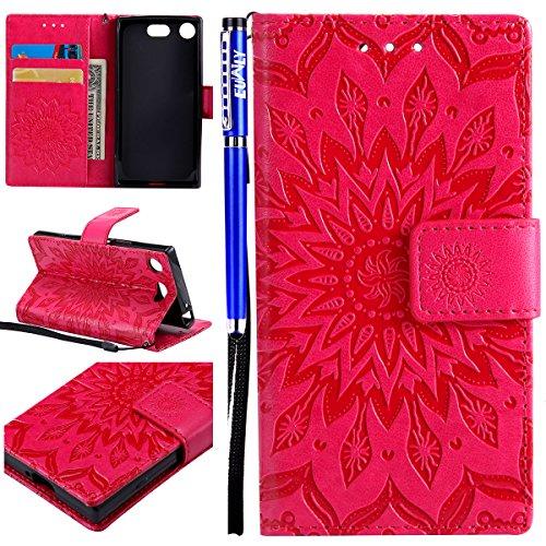 Touch Pink Leder (EUWLY Schutzhülle für [Sony Xperia XZ1 Compact] Sonnenblume Prägung Brieftasche Hülle Leder Tasche Flip Case Handyhülle mit Standfunktion und Magnetverschluss, Sony Xperia XZ1 Compact Schön Bookstyle Flip Hülle Case Strap Lanyard Wallet Cover Kartenfach Ledertasche Leder-Mappen-Karten-Slot-Abdeckung für Sony Xperia XZ1 Compact + Blau Eingabestift Stylus Touch Pen-Sonnenblume,Rot)