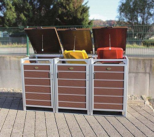Prewood WPC Mülltonnenbox, Mülltonnenverkleidung für 3x 240l Mülltonne braun // 86x204x127 cm (LxBxH) // Gerätebox, Gartenbox & Mülltonneneinhausung - 2