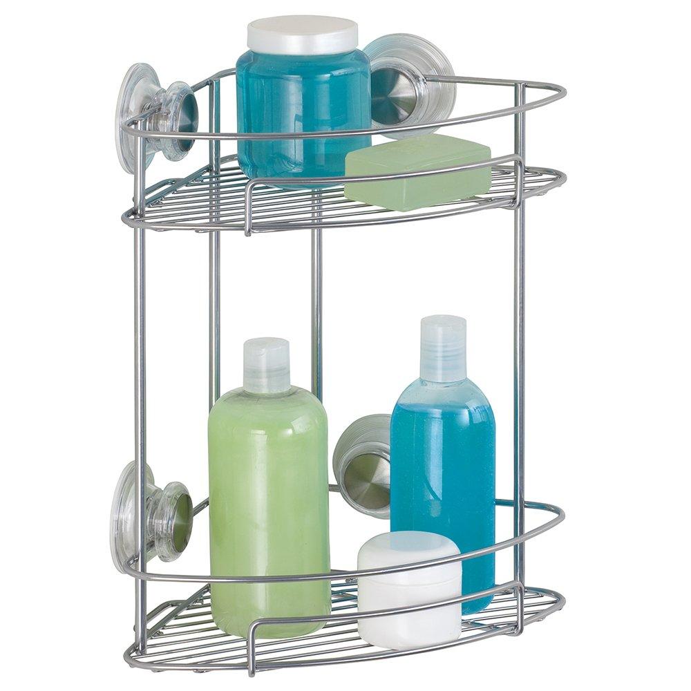 Tier basket shower caddy mild steel rust free stick n lock bathroom - Interdesign Power Lock Ultra 2 Tier Corner Basket Silver Amazon Co Uk Kitchen Home