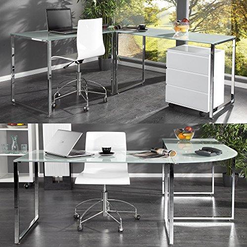 cag design schreibtisch eckschreibtisch manhattan weiss glas chrom 180cm 160cm smash. Black Bedroom Furniture Sets. Home Design Ideas