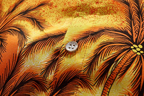 SSLR Homme Chemise Hawaienne Manche Courte Casual Plage Tropical Orange