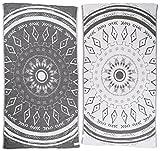 Bersuse 100% Cotone - Asciugamano Turco Kona - Certificato Oeko-Tex - Peshtemal Fouta per Bagno e Spiaggia - Pestemal Tessuto a Mano con Design Mandala - 100X180 cm, Nero