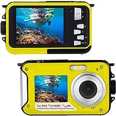 Unterwasserkamera zum Schnorcheln 24.0 MP Wasserdichte Digitalkamera Float Full HD 1080P Dual-Screen Wasserdichte