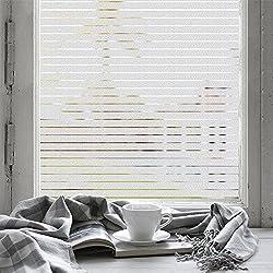 FANCY-FIX Pegatina de Vinilo Electricidad Estática para ventana o cristal Ventana Película Adhesiva Proteger Privacidad Opaco Ventana decorativa Forma Raya Color traslúcido 75cm*200cm