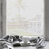 fancy-fix Selbstklebende Fensterfolie mit Streifen, Milchglasfolie zur Dekoration und Sichtschutz für Büro Küche Schlafzimmer Wohnzimmer 40cmx150cm