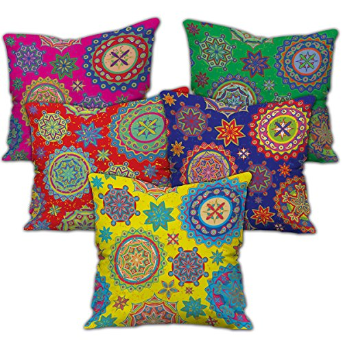 Ethnic Bohemian Pattern (Pink, Green, Yellow, Red & Blue) Printed Cushion Cover with Filler (12