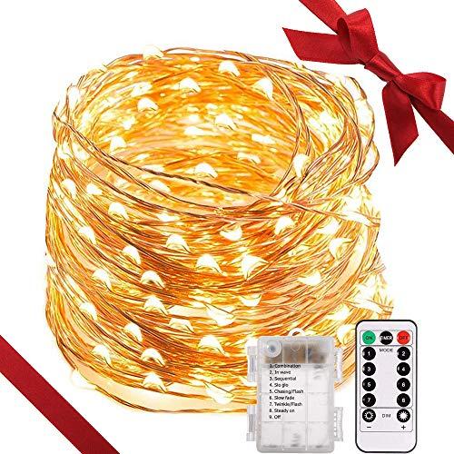 LED Lichterkette, TryLight 20M 200 LEDs 8 Modi IP65 Wasserdicht Kupferdraht Lichterkette Batterie, Lichterkette Außen mit Fernbedienung & Timer, Lichterketten für Zimmer,Weihnachten