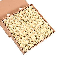 Idea Regalo - Butterme 81pcs mano bagno profumato sapone del germoglio della Rosa petali di fiori di favore di nozze in contenitore di regalo (Oro)