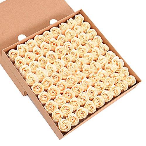 Butterme 81pcs mano bagno profumato sapone del germoglio della rosa petali di fiori di favore di nozze in contenitore di regalo (oro)