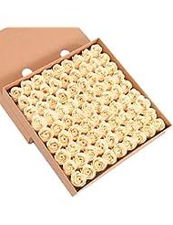 Butterme 81pcs savon de bain parfumé à la main rose fleur de pétales pétales mariage favor dans boîte cadeau