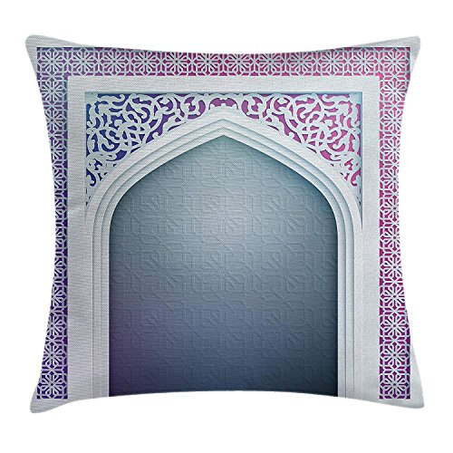 Moroccan Throw Pillow Cushion Cover, Old Fashion Ottoman Arch Door Surrounded by Digital Featured Sacred Geometry Motif, Decorative Square Accent Pillow Case, 18 X 18 Inches, Mauve Grey