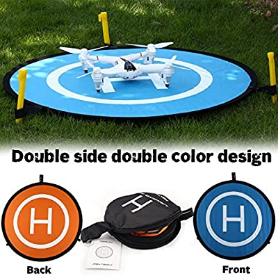 Drone Landing Pad,WINGLESCOUNT Universal Foldable Helipad Launch Pad 2 Sides with 3 ABS Land Nails 3 Led Lights and 8 Reflective Pasters for DJI Spark Mavic Pro Phantom 2/3/4/4 Pro Inspire 1 and Other Brand Drones