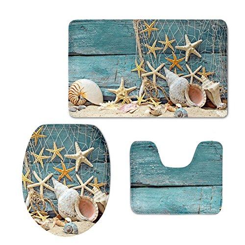 chaqlin Durable 3-teilig Bad Teppich Set Strand Seestern Sea Shell Flanell Badezimmer Teppich Contour Deckelbezug Modern Starfish-5 (Strand Badezimmer Teppich Set)