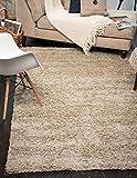 A2Z Rug (120cmx160 cm (4ft x 5ft3) Light Beige) Cozy Shag Collection Solid 5.5 cm Pile Shag Rug Contemporary Living & Bedroom Soft Shaggy Area Rug, Carpet