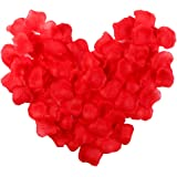 Electomania® 300pcs Fabric Rose Petals Wedding Flower Decoration Artificial Red Rose Flower Petals for Wedding Decoration and