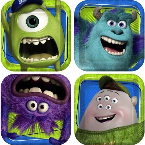 Monster Inc Monster University Party Supplies 8 Small Dessert Plates Birthday by Pixar (Pixar Party Supplies)