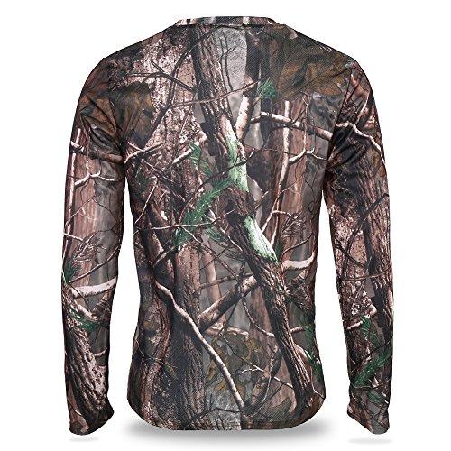 dschungel kleidung VGEBY Camouflage T-Shirt Langarm atmungsaktiv Sweatshirt Dschungel Baum Kleidung für Camping Jagd Outdoor-Aktivitäten(XL)
