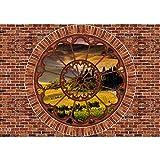 Vlies Fototapete PREMIUM PLUS Wand Foto Tapete Wand Bild Vliestapete - Steinwand Steinoptik Stein Fenster Feld Bäume - no. 2984, Größe:368x254cm Vlies