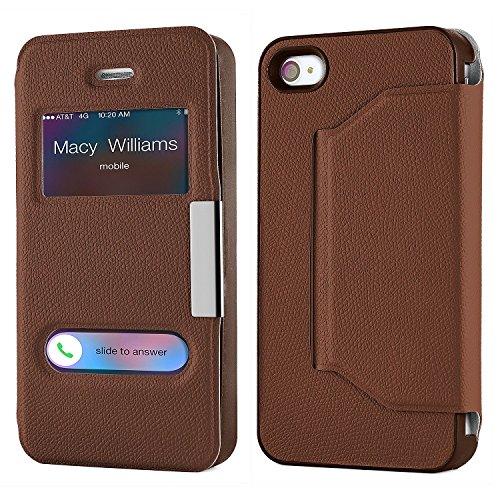 Pochette OneFlow pour iPhone 4 / 4S housse Cover à fenêtre | Flip Case étui housse téléphone portable à rabat | Pochette téléphone portable housse de protection accessoires téléphone portable protecti OXIDE-BROWN