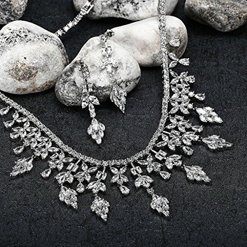AnaZoz Bijoux Parurus Fantaisie Femme Collier Argent Elégant Design Feuille Cristal Boucles d'Oreilles & Collier Sets Transparent
