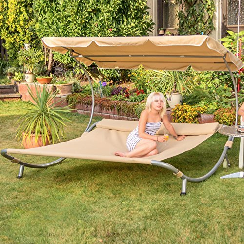 Loywe Sonnenliege Doppelliege mit Dach für 2-Personen LW22Schwarz-New
