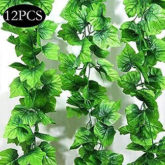 SPECOOL 12 Paquetes Hojas Guirnalda Plantas Artificiales