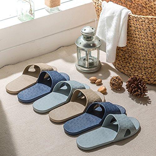 pliable pour Trip Slip on Chaussons avec un sac de rangement en lin gratuit antidérapant Douche Sandales Maison Mule léger piscine Chaussures de salle de bain Slide bleu clair