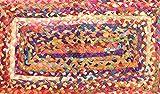 Indischer Flickenteppich, Läufer, Teppich, Teppich, Wohnzimmerteppich, Teppich, handgefertigt, geflochten, mehrfarbig, geflochten, aus Baumwolle, 91x 61cm,,,,,,,,,,, geflochten, Kelim-Teppich Bodenmatte/Fußmatte, Baumwolle,