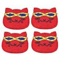 Store Indya, Set di Quirky 4 Cat Red sottobicchieri a