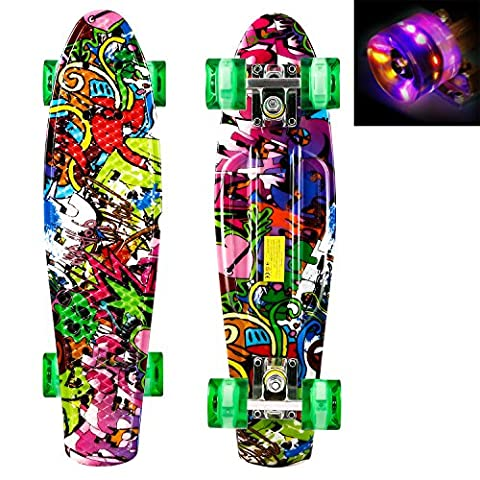 Tomasa Mini Skateboard Complete Retro Cruiser Plastic Skate Board with LED Light Up Wheels for Kids and adults (Skull)