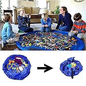 Amaza 150cm Tappetino per Giochi Semplici Che Si Trasforma in Sacco di Raccolta, Lego Tappeto Portagiochi (Blu)