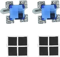 The Jewel Box Checkered Glossy Rhodium Plated Square Black Cufflink Pair for Men Gift Box Corporate Diwali