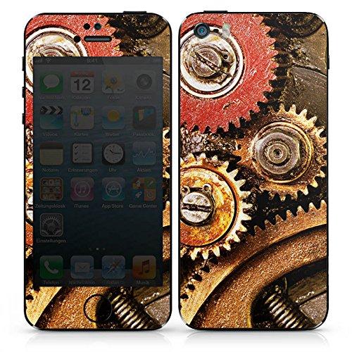 Apple iPhone SE Case Skin Sticker aus Vinyl-Folie Aufkleber Zahnrad Zahnräder Rost Look DesignSkins® glänzend