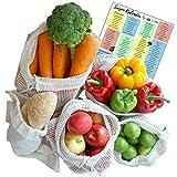 EcoYou Obst- & Gemüsebeutel mit Gewichtsangabe 5er Set Baumwolle | INKL. Brotbeutel & SAISONKALENDER | Wiederverwendbare Baumwollbeutel & Einkaufsnetze in Verschiedenen Größen FAMILIENPACKUNG